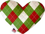 Christmas Argyle 6 inch Stuffing Free Heart Dog Toy