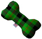 Green Plaid 8 inch Stuffing Free Bone Dog Toy