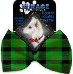 Green Plaid Pet Bow Tie Collar Accessory with Velcro