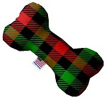 Christmas Plaid 8 inch Stuffing Free Bone Dog Toy