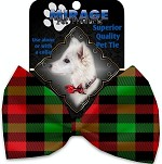 Christmas Plaid Pet Bow Tie Collar Accessory with Velcro