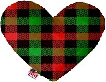 Christmas Plaid 6 inch Stuffing Free Heart Dog Toy