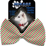 Christmas Pinstripes Pet Bow Tie Collar Accessory with Velcro