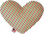 Christmas Pinstripes 6 inch Stuffing Free Heart Dog Toy