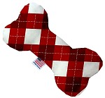 Candy Cane Argyle 8 inch Stuffing Free Bone Dog Toy