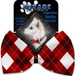 Candy Cane Argyle Pet Bow Tie Collar Accessory with Velcro
