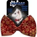 Red Snowflakes Pet Bow Tie Collar Accessory with Velcro