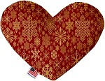 Red Snowflakes 6 inch Stuffing Free Heart Dog Toy