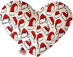 Santa Hats 6 inch Stuffing Free Heart Dog Toy