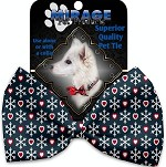 Snowflakes and Hearts Pet Bow Tie Collar Accessory with Velcro