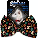Sugar She Skulls Pet Bow Tie Collar Accessory with Velcro