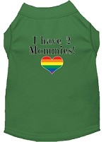 I have 2 Mommies Screen Print Dog Shirt Green XS