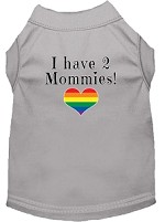 I have 2 Mommies Screen Print Dog Shirt Grey XS