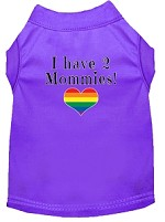 I have 2 Mommies Screen Print Dog Shirt Purple XS