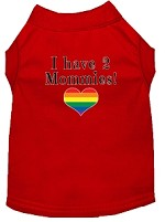 I have 2 Mommies Screen Print Dog Shirt Red XS