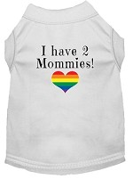 I have 2 Mommies Screen Print Dog Shirt White XS