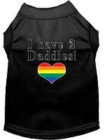 I have 2 Daddies Screen Print Dog Shirt Black XS