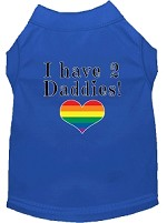 I have 2 Daddies Screen Print Dog Shirt Blue Sm