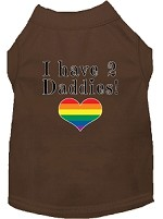 I have 2 Daddies Screen Print Dog Shirt Brown Lg