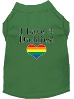 I have 2 Daddies Screen Print Dog Shirt Green Sm
