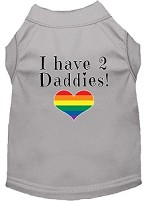 I have 2 Daddies Screen Print Dog Shirt Grey Lg