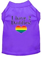 I have 2 Daddies Screen Print Dog Shirt Purple Sm