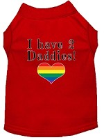 I have 2 Daddies Screen Print Dog Shirt Red Med