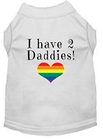 I have 2 Daddies Screen Print Dog Shirt White Med
