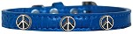 Peace Sign Widget Croc Dog Collar Blue Size 10