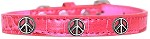 Peace Sign Widget Croc Dog Collar Bright Pink Size 10