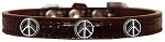 Peace Sign Widget Croc Dog Collar Chocolate Size 10