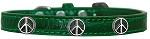Peace Sign Widget Croc Dog Collar Emerald Green Size 10