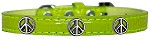 Peace Sign Widget Croc Dog Collar Lime Green Size 10