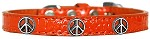 Peace Sign Widget Croc Dog Collar Orange Size 10