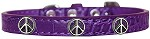 Peace Sign Widget Croc Dog Collar Purple Size 10