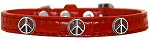 Peace Sign Widget Croc Dog Collar Red Size 10