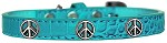 Peace Sign Widget Croc Dog Collar Turquoise Size 10