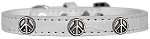 Peace Sign Widget Croc Dog Collar White Size 10