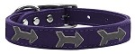 Arrow Widget Genuine Leather Dog Collar Purple 10