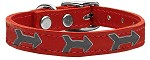 Arrow Widget Genuine Leather Dog Collar Red 10