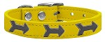 Arrow Widget Genuine Leather Dog Collar Yellow 10