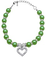 Heart and Pearl Necklace Lime Green Sm