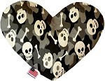 Gray Camo Skulls 6 Inch Heart Dog Toy