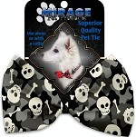 Gray Camo Skulls Pet Bow Tie