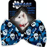 Blue Camo Skulls Pet Bow Tie