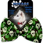 Green Camo Skulls Pet Bow Tie