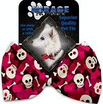 Pink Camo Skulls Pet Bow Tie Collar Accessory with Velcro
