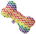Rainbow Chevron 8 inch Stuffing Free Bone Dog Toy