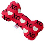 Red XOXO 8 inch Stuffing Free Bone Dog Toy