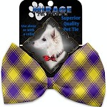 Purple and Yellow Plaid Pet Bow Tie